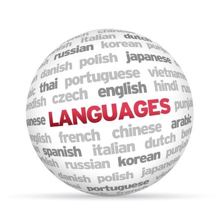 idiomas: 3d Idiomas Esfera palabra sobre fondo blanco.