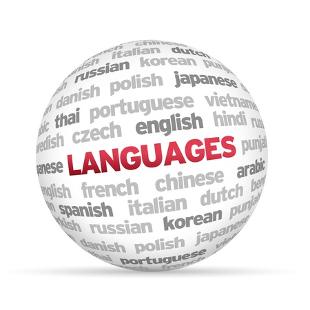 3d Languages Word Sphere on white background. Stock Photo - 14220213