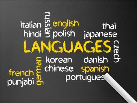 języki: Ciemna tablica z ilustracją słów języka.