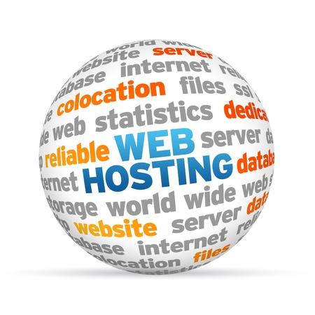 hospedagem: 3d Web Hosting Sphere palavra sobre fundo branco.