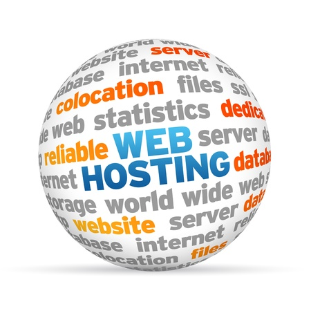 domains: 3d Web Hosting Word Sphere on white background.