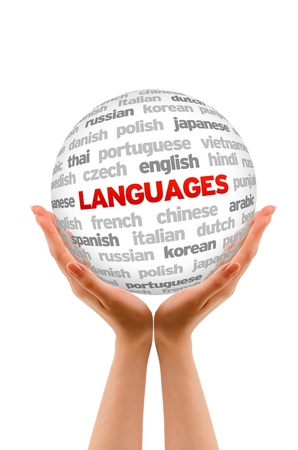 Hands holding a Languages Sphere sign on white background.