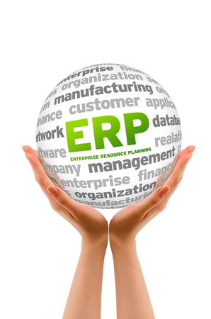 enterprise resource planning: Hands holding a Enterprice Resource Planning Sphere sign on white background.