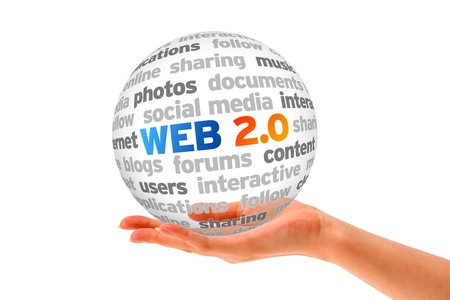 Hand holding a Web 2.0 Word Sphere on white background.  photo