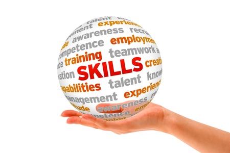 competencias laborales: Mano que sostiene una esfera de la Palabra de Habilidades en el fondo blanco.