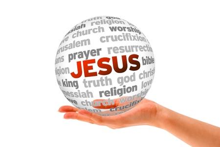 Hand met een Jesus Word Sphere op een witte achtergrond. Stockfoto