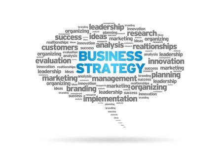 Speech bubble with the words Business Strategy on white background. Stock Photo - 14363576