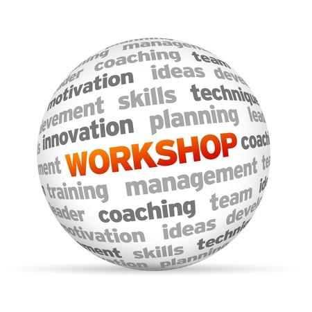 3d Word Sphere Workshop su sfondo bianco. Archivio Fotografico - 14363575