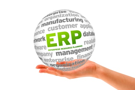 Hand holding a Enterprise Resource Planning Word Sphere on white background.  photo
