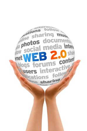 Hands holding a Web 2.0 Word Sphere on white background.