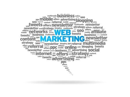 seo: Tekstballon met web marketing woorden op een witte achtergrond.