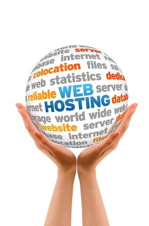 seo: Handen die een Web Hosting Sphere teken op witte achtergrond. Stockfoto