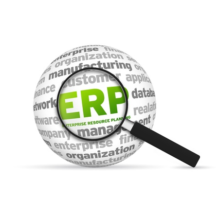 resource: Enterprise Resource Planning Word Sphere with magnifying glass on white background.