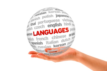 Hand holding a Languages Word Sphere on white background.