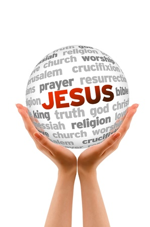 Hands holding a jesus Word Sphere on white background. photo
