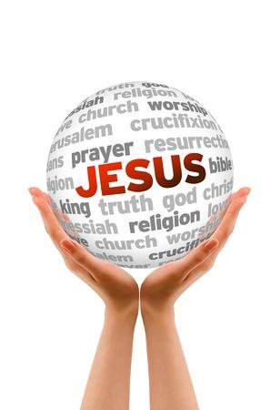 bíblia: M�os que prendem uma esfera palavra de Jesus sobre fundo branco.