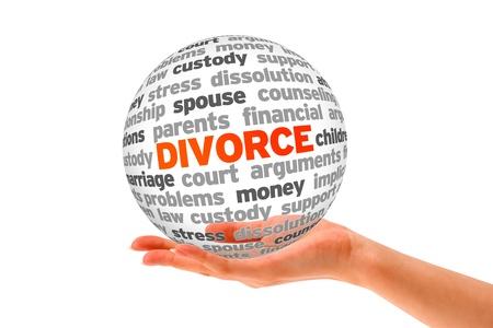 divorcio: Mano que sostiene una esfera de la Palabra de divorcio en el fondo blanco