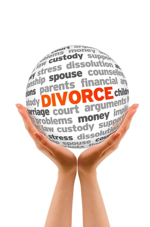 implications: Hands holding a Divorce Word Sphere  on white background  Stock Photo