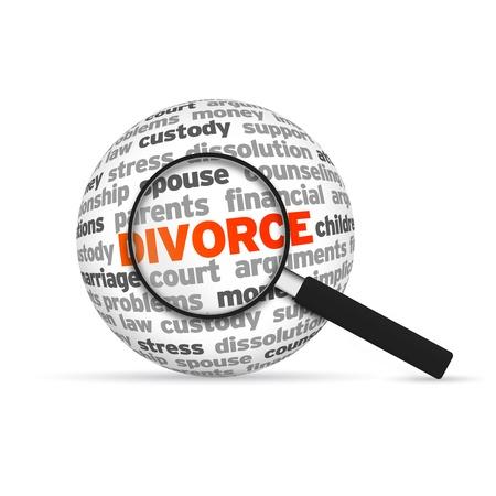 Magnyfying Glas in te zoomen op een 3d Divorce Word Bol
