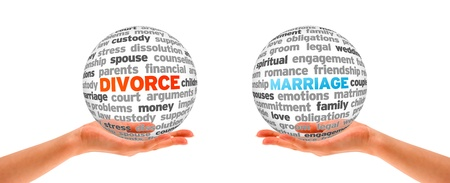 Hands holding a Divorce and Marriage Word Sphers on white background   photo