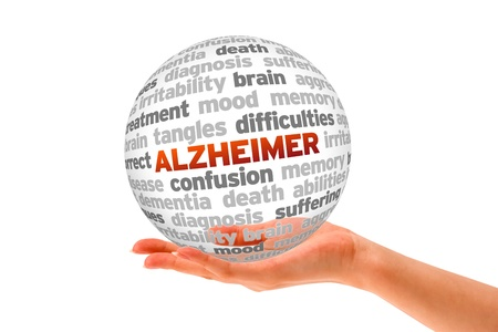 Hand holding a Alzheimer Word Sphere on white background   photo