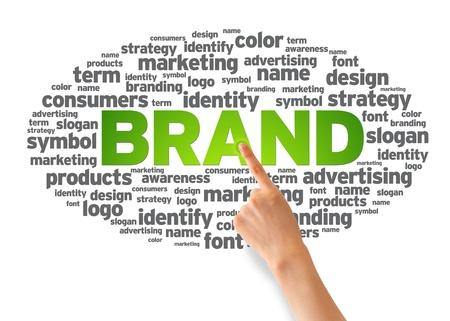 白い背景の上のブランド Word 図で指している手 写真素材