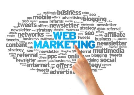 web commerce: Mano che punta a una illustrazione Word Web Marketing su sfondo bianco