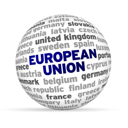 유럽의: 3d European Word Sphere on white background.