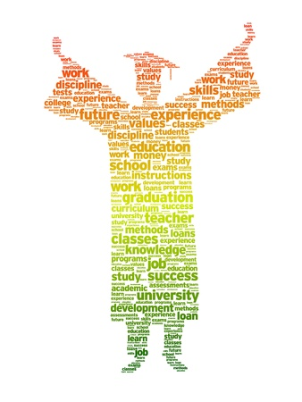 curriculum: Word silhouette of a graduation student on white background.   Illustration