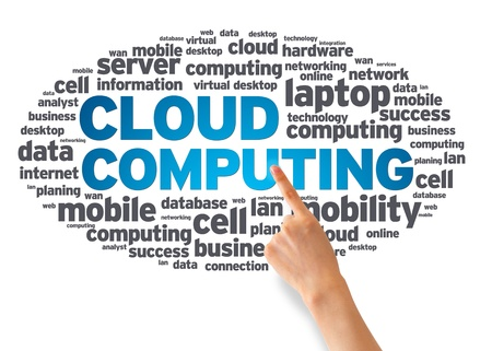 Hand pointing at a Cloud Computing Word Cloud on white background.