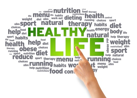 Hand pointing at a Healthy Life Word Cloud on white background.