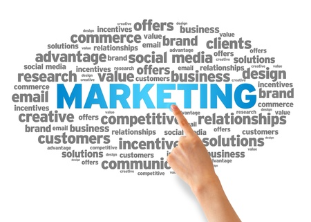 relationship strategy: Hand pointing at a Marketing Word Cloud on white background.