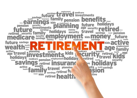 Hand pointing at a Retirement Word Cloud on white background. photo