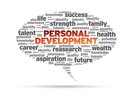 personal identity: Palabra personal de desarrollo de la burbuja del discurso en el fondo blanco Vectores
