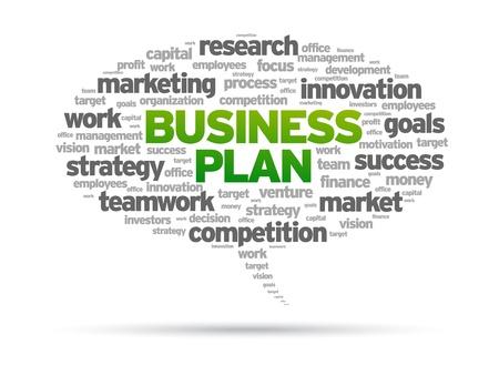 financials: Business Plan speech bubble illustration on white background.