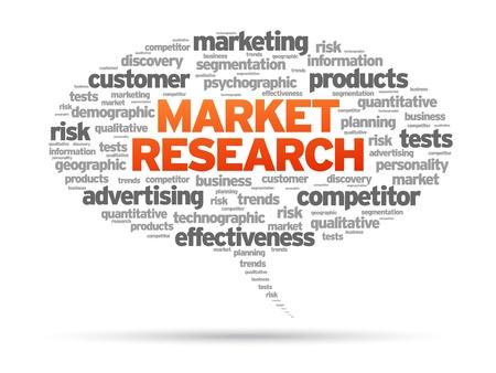 Ricerche di mercato bolla discorso illustrazione su sfondo bianco.