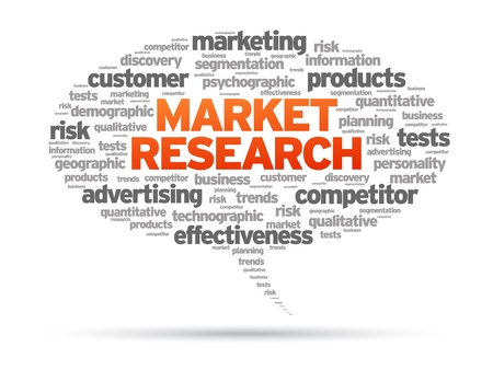 research study: Market Research speech bubble illustration on white background.