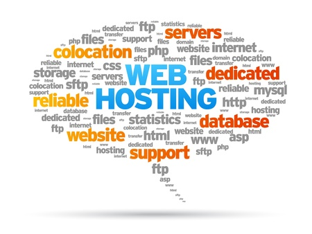 domains: Web Hosting speech bubble illustration on white background.