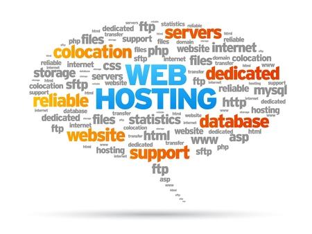http: Web Hosting Sprechblase Illustration auf wei�em Hintergrund.