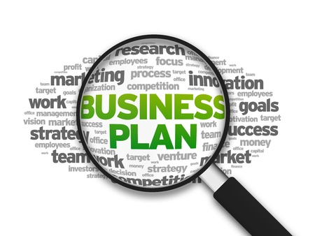 Magnified illustration with the word Business Plan on white background.