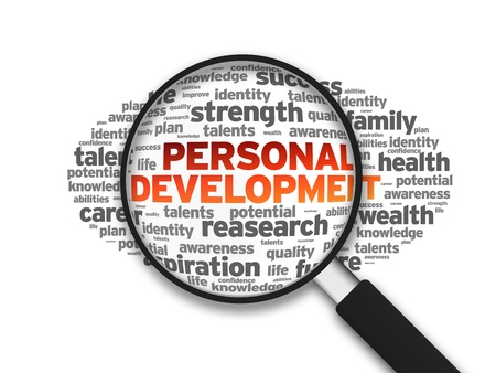 Magnified illustration with the word Personal Development on white background. illustration