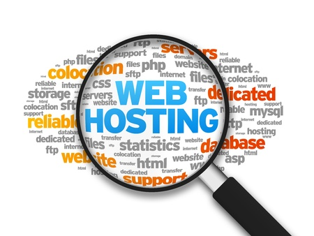 domains: Magnified illustration with the word Web Hosting on white background.