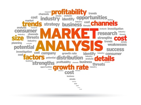 strengths: Market Analysis speech bubble illustration on white background.