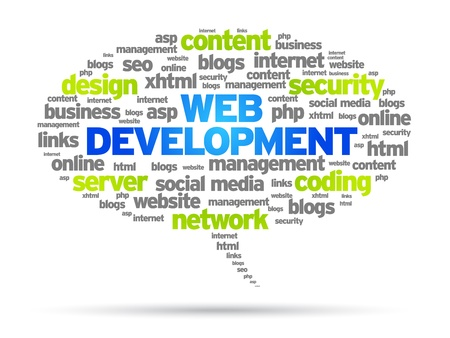 seo: Ontwikkeling van het Web tekstballon illustratie op witte achtergrond.