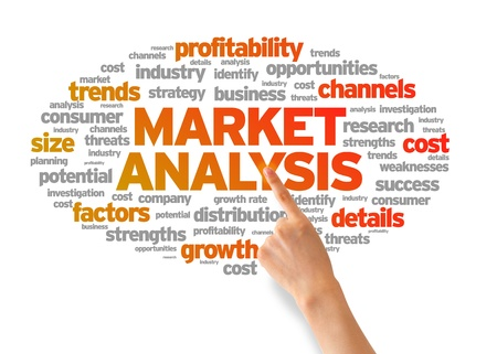 Hand pointing at a Market Analysis Word Cloud on white background. Stock Photo - 14768870
