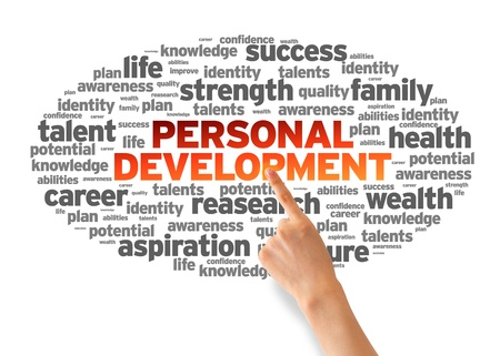 personal identity: Mano que se�ala en una nube de desarrollo personal de palabras en fondo blanco.