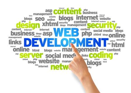 웹: 손을 흰색 배경에 웹 개발 단어 구름 가리키는.