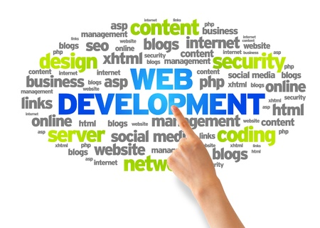 web marketing: Hand pointing at a Web Development Word Cloud on white background. Stock Photo