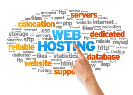 colocation: Hand pointing at a Web Hosting Word Cloud on white background.