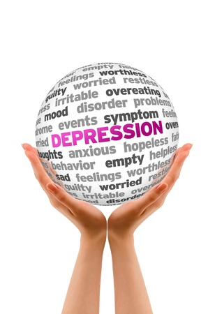Hands holding a Depression Sphere sign on white background. Stock Photo